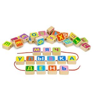 Деревянный конструктор Шнуровка азбука
