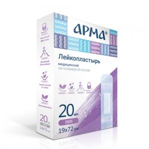 Лейкопластырь мед. АРМА 19х72мм полимерный прозрачный /60пач/1200шт