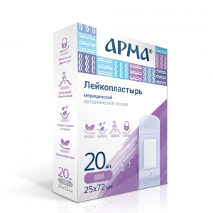 Лейкопластырь мед. АРМА 25х72мм полимерный прозрачный /60пач/1200шт