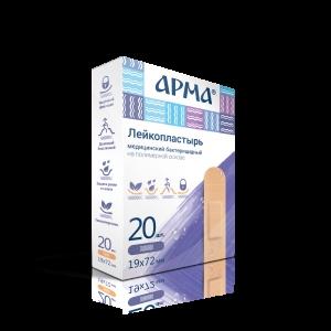 Лейкопластырь бактериц. АРМА 19х72мм полимерный телесный ПЭ /20бл/2000шт