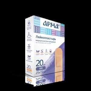 Лейкопластырь бактериц. АРМА 25х72мм полимерный телесный ПЭ /20бл/2000шт