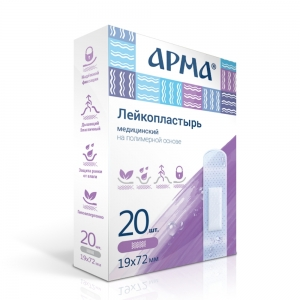 Лейкопластырь мед. АРМА 19х72мм полимерный прозрачный ПЭ /20бл/2000шт
