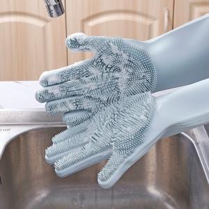 Перчатки силиконовые с ворсинками для мытья посуды