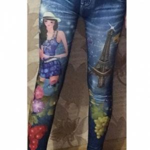 Леджинсы летние с цветным рисунком (девушка со шляпой)