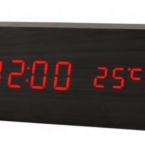 Настольные электронные цифровые часы (черные с красной подсветкой)